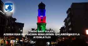 TARİHİ SAAT KULESİ, AZERBAYCAN BAYRAĞININ RENKLERİNİN IŞIKLANDIRMASIYLA AYDINLATILDI