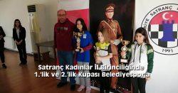 Satranç Kadınlar İl Birinciliğinde 1.'lik ve 2.'lik Kupası Belediyespor'a